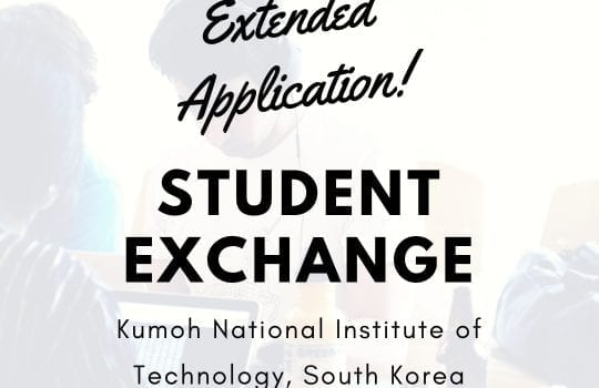 [Extended Application] Student Exchange Spring 2019 – Kumoh National Institute of Technology