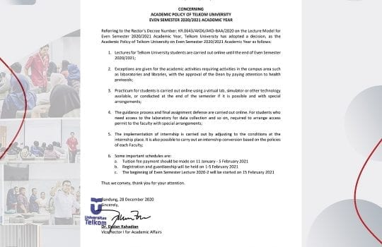 CIRCULAR LETTER Number: 004/AKD01/WR1/2020  |  CONCERNING ACADEMIC POLICY OF TELKOM UNIVERSITY EVEN SEMESTER 2020/2021 ACADEMIC YEAR